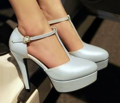 Womens High Heel Platform T-Strap Mary Jane Pumps