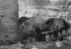 "A burning German ""Hetzer"" tank destroyer."