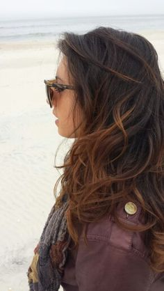 Dark caramel ombre with dark brown and shoulder cut hair.. .  lovely winter hair