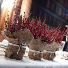 Kääri ruma muoviruukku juuttikankaaseen ja pyöräytä kaunis kangasnauha ympärille. Saat persoonallisen lahjapaketin joulukukalle tai katseenkestävän pöytäkoristeet rustiikkiseen hääpöytään. / Burlap plant wraps, wedding centre piece