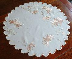 Em's Heart Antique Linens -Antique Society Silk Embroidered Centerpiece Doily