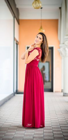 Red maxi lace dress, lovely!