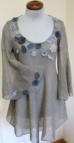 Linen Top Tunic Sweater Clothing Natural Grey knitted and Crocheted Flower