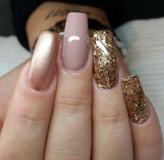Rose gold, gold glitter and dusky pink nail art