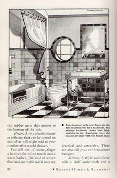 nice house interior dream homes 1930s Home Decor, 1940s Home, Art Deco Bathroom, Downstairs Bathroom, Bathroom Designs, Vintage Bathrooms, 1930s Bathroom, House Interiors, Deco Interiors