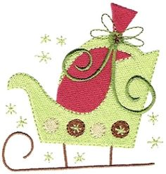 Deco Christmas Sleigh - 4x4 | Christmas | Machine Embroidery Designs | SWAKembroidery.com Stitch-Ville