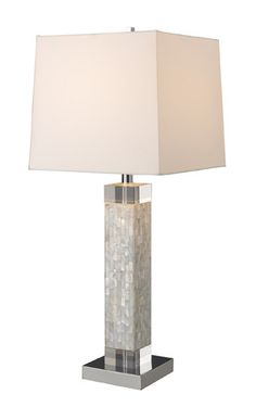 Dimond D1412 Luzerne Table Lamp In Mother Of Pearl With Milano Off-White Shade