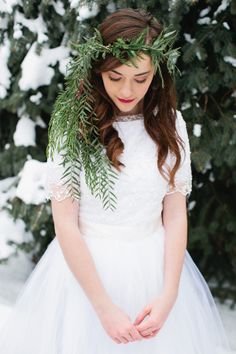 Winter Bride Wearing Greenery Crown
