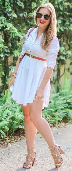 Every woman needs to own a white button-down collared dress. This cute Express dress is a classic closet staple that's perfect for work, dinner for friends, or even a date night! Click through this pin to see how blogger Ashley Brooke Nicholas styled this dress with a cognac and gold belt and the most beautiful gold lace-up heels from Banana Republic + learn how she got new hair for the season thanks to Hair Cuttery! | by Ashley Brooke Nicholas | Florida Beauty and Fashion Blogger #MyHCLook…