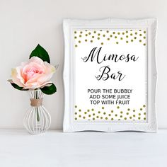 Hosting a bridal shower or bachelorette party? Dress up the celebration with this charming 'Mimosa bar' sign! #printable #bridalshower #bridalshowersigns #signage #SHdesigns