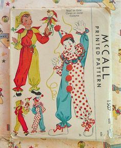 Vintage 1940s Childrens Costume Pattern for Clown or Jester - McCall 1507 by Fragolina on Etsy https://www.etsy.com/listing/75876813/vintage-1940s-childrens-costume-pattern