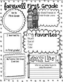 Free end of the year printables for kindergarten through 4th grade.