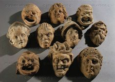 Various theatrical masks. Hellenistic influence Terracotta (6th-5th BCE).   Eremitage (Hermitage), St. Petersburg, Russia