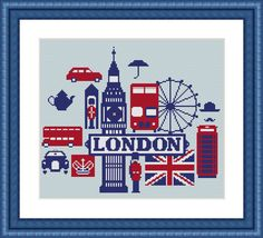 Modern cross stitch patterns London poster by CrossStitchObsession