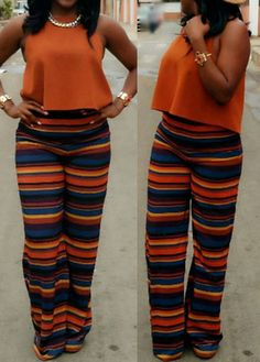 76de39a58a6 Orange Crop Top and Loose Printed Pants with cheap wholesale price