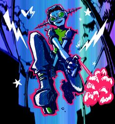 Illustration Sketches, Illustrations And Posters, Z Toon, Bright Paint Colors, Jet Set Radio, Air Gear, Character Design Animation, Punk Art, Video Game Art