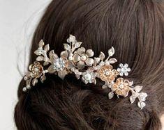 Rose Gold  comb Rose gold crystals comb wedding crystal