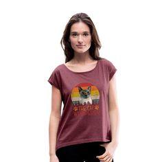 Geschenke Shop | the cat whisperer - Frauen T-Shirt mit gerollten Ärmeln Roll Up Sleeves, Cuff Sleeves, Dress Down Day, Dress Up, Shirt Diy, Like A Mom, Boyfriend Style, Workout Shorts, Heather Grey