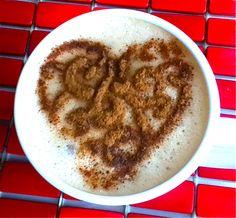decoration in cappuccino with stencil