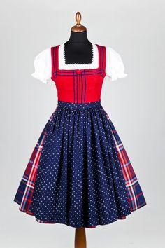 Plaid skirt dirndl!! Red white and blue. Lena Hoschek - Karo Dirndl mit blauer Schürze