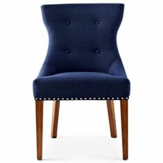 upholstered dining room chairs; love the Navy and dark wood combo #paytingtonandco