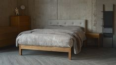 sale Arran upholstered bed from Natural bed Company. Taupe-bedding also from Natural Bed Company.