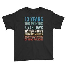 Birthday Shirt – Present for 13 Year Old Girls and Boys – Birthday Party Gift – Unisex Youth Short-Sleeve T-Shirt – Presents for girls