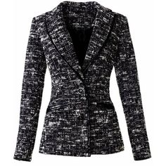Agne Deveikyte - Black and white blazer ($280) ❤ liked on Polyvore featuring outerwear, jackets, blazers, synthetic jacket, embellished blazer, pattern jacket, embellished jacket and print blazer