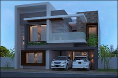 3D House Front Wall Design, Bungalow House Design, Building Elevation, House Elevation, Modern Architecture House, Villa Design, Dream Houses, Exterior Design, Ps