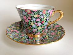 Garden Chintz Tuscan Tea Cup and Saucer Chintz by AprilsLuxuries