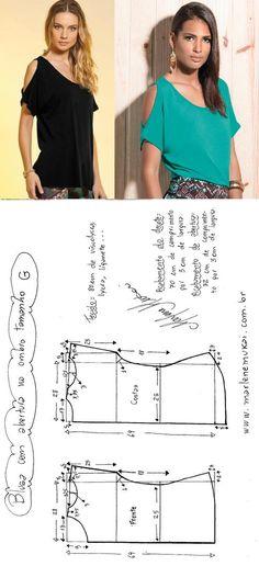 DIY – molde, corte e costura – Marlene Mukai. Blusa com abertura no ombro. Uma blusa simples de malha cujo detalhe é que a torna diferente. Fiz a modelagem para malha do PP ao EGG.Fica melhor em cor lisa como estas da Posthaus.