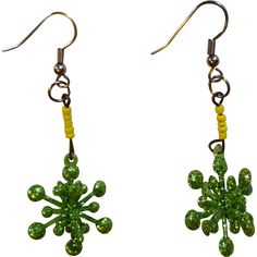 Snowflake Earrings, Vintage Green Sparkle --- Vintage jewelry found at www.rubylane.com @rubylanecom
