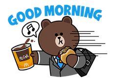 Love Is Cartoon, Cute Couple Cartoon, Cute Love Cartoons, Good Morning Cartoon, Cute Good Morning, Line Friends, Friends In Love, Morning Line, Beautiful Romantic Pictures