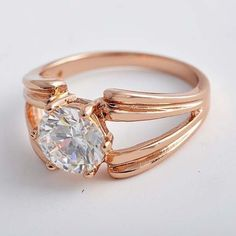 Size 9 Sensational Large Brilliant Cubic Zirconia 9k Rose Gold Filled Ring + Box #Unbranded #Cocktail