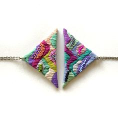 Hand embroidered Embroidery Art Pendant Statement Long Necklace Fiber Textile Art Geometric Triangle Contemporary Jewelry Jujujust