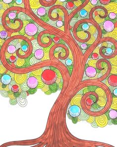 "Mental Images Coloring Books (@paivivesala_art) on Instagram: ""Sweet candy fruit tree  colored by @mattopiiska_ * Coloring book: Mental Images vol2 * You'll…"""