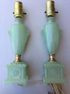 Vintage PAIR Art Deco Jadeite Glass Electric Table Boudoir Lamps EXCELLENT