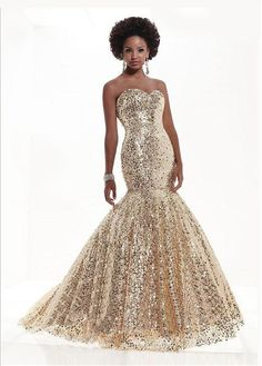 Gorgeous Sequin Lace Sweetheart Neckline Floor-length Mermaid Evening Dress