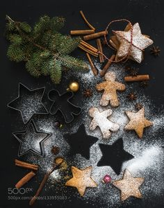 christmas photography Creative Market Photos Cooked Christmas holiday traditional gingerbread cookies with sugar powder and cinnamon sticks on black background, top view Best Christmas Cookies, Christmas Gingerbread, Christmas Desserts, Christmas Baking, Christmas Decorations, Christmas Mood, Noel Christmas, Black Christmas, Christmas Food Photography