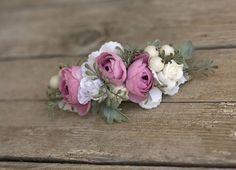 Flower quarter head wreath head piece colorful summer flower hair wreath wedding crown by EvaFlowersDesigns on Etsy
