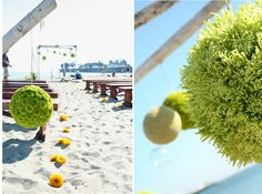 kissing ball in lime green spider mums, button mums by fionnafloral1, via Flickr