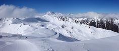 Panorama in Ischgl - View from top of the ski resort Silvretta Arena of Ischgl/Samnaun in Austria/Switzerland.