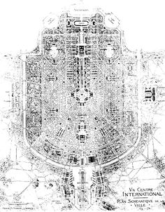 Hendrik Christian Andersen's plan for a new city roughly where Fiumicino airport is now near Rome called the World Center of Communication (1913)