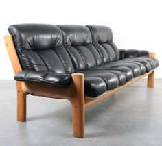 Anonymous; Oak and Leather 'Montana' Sofa by Ekornes, 1970s.