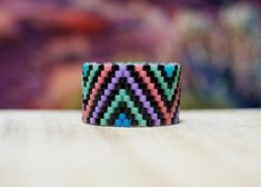 PEYOTE RING Southwest Triangles bead ring southwest