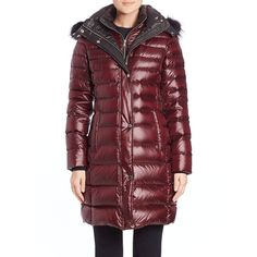 Andrew Marc Gayle Fur-Trimmed Puffer Coat (€525) ❤ liked on Polyvore featuring outerwear, coats, apparel & accessories, marsala, puffy coat, red coat, red puffer coat, andrew marc coats and andrew marc