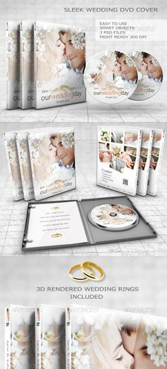 Sleek Wedding DVD Cover Set  #GraphicRiver        Are you videomaker looking for a professional DVD cover artwork? Impress your clients from the very beginning with Sleek Wedding DVD Cover and save your precious time! Change any text, colour and image in