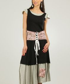 Another great find on #zulily! Black & Old Pink Lace-Up Tiered Scoop Neck Dress by Ian Mosh #zulilyfinds