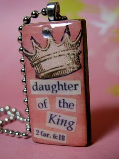 Domino Necklace, Daughter of the King, Inspirational. $14.00, via Etsy.