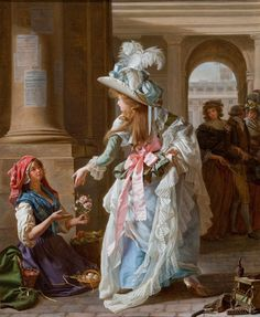 Michel Garnier, A Fashionably Dressed Young Woman in the Arcade of the Palais Royal, Paris, 1787, Oil on canvas.  Great rendering of fabrics and colors.